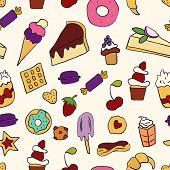 Doodle Illustration Of Desserts And Pastries. Seamless Pattern With Desserts. Hand Drawn Vector Illu poster
