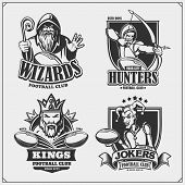 Set Of Football Emblems, Badges, Logos And Labels With Hunter, Wizard, King And Joker. Print Design  poster