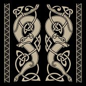 Wolfs In Celtic Style And Celtic Pattern poster