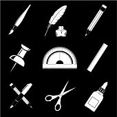 Vector icons of office tools