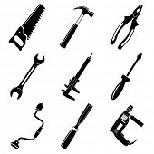 stock photo of hammer drill  - Vector icons of tool - JPG