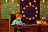 Education Concept. Little Boy Learn In Classroom, School Education. Elementary Education And Early D poster