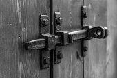 Padlock On The Garage Door. Gate Locked On The Castle. Vintage, Old.door Hinges. Closed. Storage Roo poster