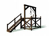 pic of gallows  - Gallow made of wood with a rope in white background - JPG