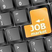 Clave del mercado de trabajo en el teclado