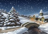 foto of merry christmas  - enchanted christmas landscape at night - JPG