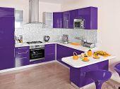 Modern kitchen interior with violet decoration