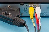 Dvb-t Tv Receiver Back Side Scart Tulip Wires Plug
