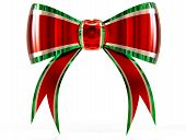 red with green plastic gift bow