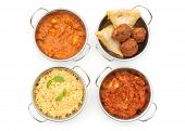 foto of samosa  - Curry dishes including chicken jalfrezi tikka masala and samosas over a white background - JPG