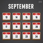 Set of red high-detailed calendar icons