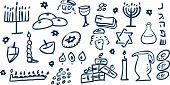 Hanukkah símbolos Doodles