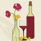 Vector background with wine bottles and flowers.