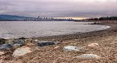 stock photo of jericho  - Vancouver skyline from Jericho beach on a cloudy day - JPG