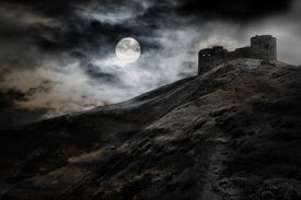 picture of magi  - Night moon and dark fortress black and white halloween theme - JPG