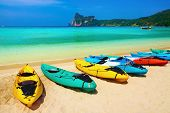 image of phi phi  - Kayaks on the tropical beach Phi - JPG