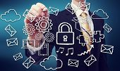 stock photo of encoding  - Secured Online Cloud Computing Concept with Business Man - JPG
