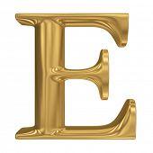 Golden letter E. Gold solid alphabet, high quality 3d render
