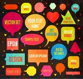 Speech bubbles vector set for web vintage design. Old paper background