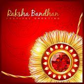 pic of pooja  - beautiful hindu festival rakhi on red background - JPG