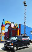 WABC Channel 7 Eyewitness news van in front of Luna Park in Brooklyn