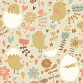 picture of angry bird  - Vintage birds in flower - JPG