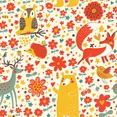 Cute seamless pattern with forest animals: bear, fox, deer, hedgehog, owl, bird. Funny animals  childish design. Happy birthday card.
