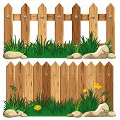 Wooden fence and grass. Vector illustration.
