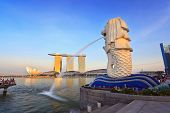 Golden light in the evening at Merlion park
