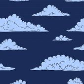 Blue clouds on the night dark blue sky seamless pattern, vector