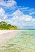 Unberührten tropischen Strand mit türkisfarbenem Wasser auf Cayo Coco (Coco Schlüssel) in Kuba (an einem Sommertag mit puf