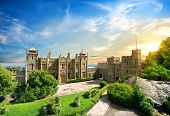 stock photo of chateau  - Vorontsov Palace in the town of Alupka - JPG