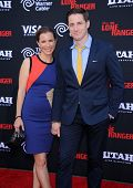 LOS ANGELES - JUN 22:  Sam Jaeger & wife Amber arrives to the 'The Lone Ranger' Hollywood Premiere  on June 22, 2013 in Hollywood, CA
