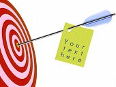 pic of bow arrow  - Vector illustration of target and arrow with a sticker for your text - JPG