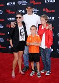 LOS ANGELES - JUN 22:  Adrian Pasdar, Natalie Maines, Beckett and Jackson arrives to the 'The Lone R