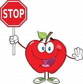 Apple Cartoon Character Holding A Stop Sign