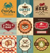 stock photo of crab  - Set of vintage retro labels for food - JPG