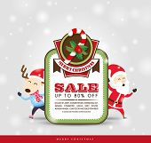 Christmas sale tag with Santa Claus & Reindeer