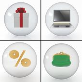 set of objects for shopping on the internet, styled into transparent spheres on white background