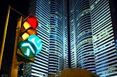 picture of traffic signal  - Traffic light in the city - JPG