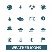 weather icons, signs set, vector