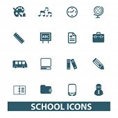 school icons, signs set, vector