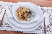 picture of tripe  - Dish Of Italian Cuisine Tripe Cooked With Tomato Sauce - JPG