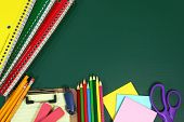 picture of punctuality  - Miscellaneous Back to School Items on a Chalkboard Background - JPG
