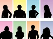 pic of person silhouette  - Silhouettes of people avatars on pastel coloured backgrounds - JPG