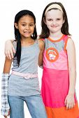 foto of friendship belt  - Two girls standing together isolated over white - JPG