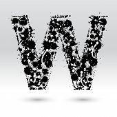 Letra W formado por manchas de tinta