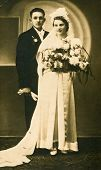 CZESTOCHOWA, POLAND, CIRCA 20 OCT 1938 - vintage photo of unidentified newlyweds, Czestochowa, Polan