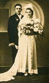 CZESTOCHOWA, POLAND, CIRCA 20 OCT 1938 - vintage photo of unidentified newlyweds, Czestochowa, Poland, circa 20 Oct 1938