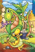 picture of dinosaur-eggs  - a digitally illustrated colorful and cute cartoon  - JPG